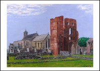 Lindisfarne Priory and St. Mary's Church - A4 Print