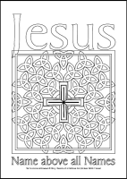Name above all Names - Multicoloured Prayers - Large PVC Colouring Image
