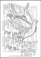 Just Pray - Multicoloured Christmas - Downloadable / Printable - Colouring Sheet