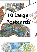 10 Large Postcards - 1 of each